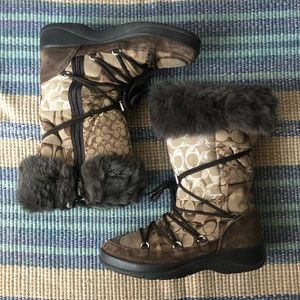 COACH Laurilyn Patchwork Khaki Multi Boots